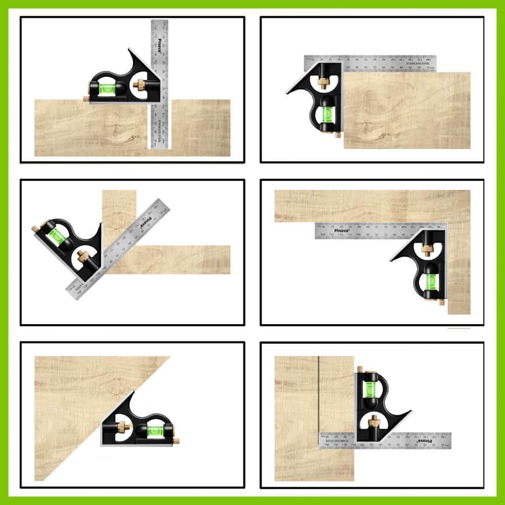 Combination square als Tiefenmesser, Streichmaß, WInkelmesser und mehr